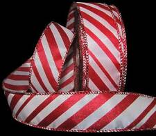 """5 Yds Red White Peppermint Candy Cane Christmas Wired Ribbon 1 1/2""""W"""