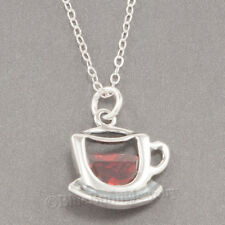 CUP MUG of COFFEE Java Drink cz Tea Charm Pendant STERLING SILVER .925 Necklace