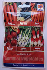 SUMMER VEGETABLE SEED COLLECTION MIXED - CARROT COURGETTE BEETROOT ONION RADISH
