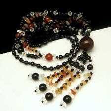 Long Chunky Necklace Large Pendant Tassels Glass Beads Stones Black Clear Red