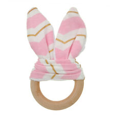 Handmade Natural Wooden Baby Teething Ring Bunny Sensory Chewie Teether Gift Toy