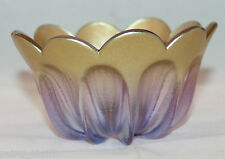 Light Purple Gold Lotus Flower Shaped Art Glass Bowl No Markings  AS-IS