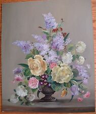 Vintage Victorian Style Floral Still LIfe  Painting Rose, Pansies and Lilacs