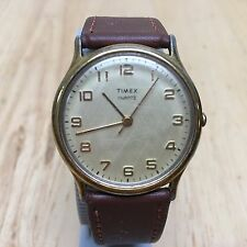 Vintage Timex Men Classic Gold Tone Leather Analog Quartz Watch Hour~New Battery