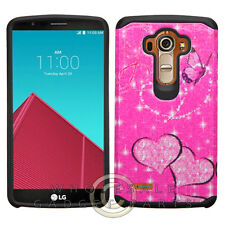 LG G4 Advanced Armor Case - Glittering Hearts and Butterfly Hot Pink/Black Cover