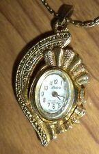 Vintage DESIRE Pendant Watch Gold Tone Wind Up RUNS