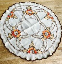 Vintage Round Embroiderd Norwegian Table Cloth 38.5""