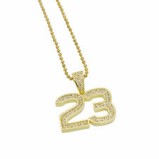 "Hip Hop 14k Gold Plated Iced Out 23 Jersey Jordan Pendant w/ 24"" Chain Bling"