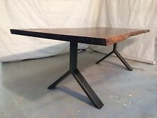 Y leg, steel leg reclaimed walnut raw edge bookmatched dining table