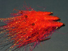 3  X KILLER KING PRAWNS/SHRIMPS FLIES FOR BASS,SEA TROUT,SALMON,(PINK/ORANGE)
