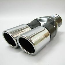 Chrome Universal New Dual Twin Exhaust Pipes Muffler Trim Pipe Tail Tip