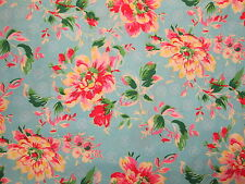 ANTIQUE FLOWERS ROSES VINTAGE FLOWER ROSE BLUE PINK COTTON FABRIC FQ