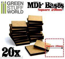 20x Peanas DM - CUADRADAS 20mm para miniaturas modelismo warhammer aos infinity