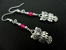 A PAIR OF  TIBETAN SILVER DANGLY OWL & PINK CRYSTAL  EARRINGS. NEW.
