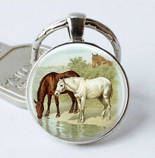 HORSE & WESTERN GIFTS ACCESSORIES HORSES BY THE STREAM  KEY RING KEY CHAIN