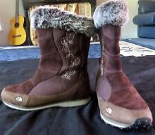 NORTH FACE BROWN SUEDE FUR LINED WOMEN SNOW BOOTS sz 7 winter shoes Flower