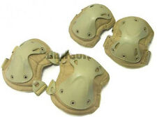 AIRSOFT X4 KNEE & ELBOW PADS PAD SET SWAT TAN SAND DE BROWN PAINTBALL BIKE skate