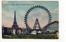 PARIS FRANCE PC Postcard ROLLER COASTER Eiffel Tower GRANDE ROUE Dupont FRENCH