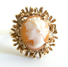 Vintage Art Deco Very Pretty Shell Cameo Ring 14KT Yellow Gold Siffari