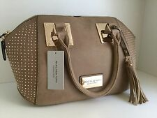 Marc New York Andrew Marc brown gold studs suede satchel tote handbag purse New!