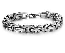 Silver braclets & bangle for Cool men 8.5inch stainless steel byzantine bracelet