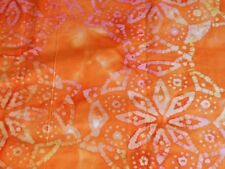 """BATIK one-of-a-kind stars on orange 100% cotton quilting fabric 1-7/8 yds x 44""""w"""