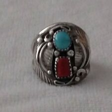 Vintage Native American Turquoise Coral Men's Ring Size 12 Navajo St Silver