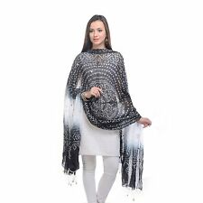 Womens traditional Ethnic clothing apparel Black & white Bandani Dupatta/ stole