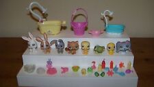 Littlest Pet Shop Petshop Animals Lot Rabbits Duck Bath Shower Accessories Lot