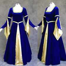 Blue Velvet Medieval Renaissance Gown Dress Cosplay Costume LARP Wedding 3X