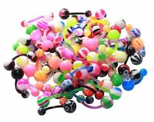 100Pc Lot Flexible Belly Ring Assorted Bioplast 14 Gauge Banana Navel Piercing