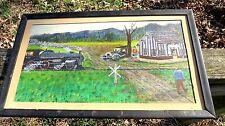 Antique VTG Folk Art Oil Painting 711 Primitive Steam Train & Model T Car, NR