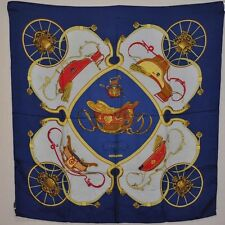 "Authentic  HERMES Scarf ""Sprincs"" Navy 100% Silk #S910 E"