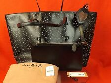 NWT ALAIA ARABESQUE BLACK CALF LEATHER SILVER CIRCLE STUDDED TOTE BAG $3500