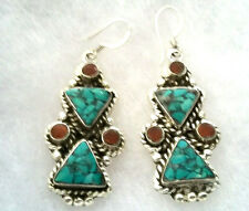 FRENCH WIRE - alpaca sterling silver filled tribal earrings w/ turquoise & coral