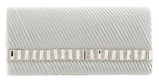 New Silver Metallic Clutch Bags Diamante Animal Croc Wedding Hard Case Womens