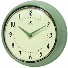 NEW Green Retro Kitchen Wall Clock Decor 1950's Era Design Battery Operated Room