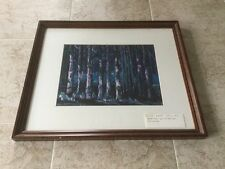 Original Listed Lois Rapp Watercolor Painting Of Trees At Night-PA, USA.    *565