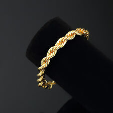 Mens 18K Yellow Gold Plated 8in Rope Link Bracelet 4 MM