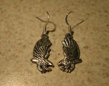 EARRINGS TIBETAN SILVER EAGLE CHARM PIERCED DANGLE NEW #735