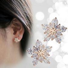 New 925 Sterling Silver Ladies Snow Snowflake Swarovski Crystal Stud Earrings