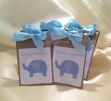 10 X Tea Bag Baby Shower Favours Chevron Elephant, Pink, Blue, Grey, Lemon