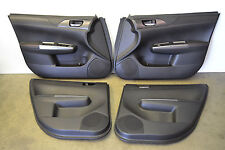 Subaru Impreza WRX STI Black Leather Door Panels Cards Doorcards Oem 2008-2014