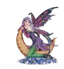 "7.5"" Inch Purple Fairy on Moon Statue Figurine Figure Fairies Magic"