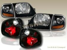 01-03 FORD F150 SVT SUPERCREW BLACK HEADLIGHTS + CORNER + TAIL LIGHTS
