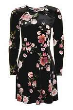 BNWT TOPSHOP black Velvet Floral  Flippy Dress UK 10