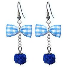 Boucles D'oreilles femme rétro rockabilly pin up noeud papillon vichy bleu perle
