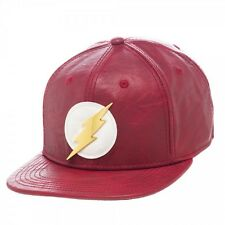 DC COMICS FLASH PU FAUX LEATHER ADJUSTABLE SNAPBACK BASEBALL CAP/HAT AWESOME!!!