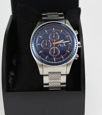 NEW AUTHENTIC ARMANI EXCHANGE SILVER BLUE DIAL CHRONOGRAPH MEN'S AX1607 WATCH