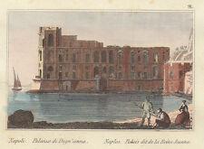 1835 Napoli Palazzo Donn'Anna bulino acquarellato